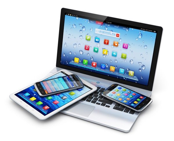 Computer with Ipad and 2 cellular smart phones