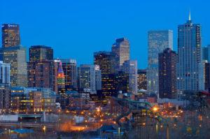 Denver Skyline at Sunset near Denver