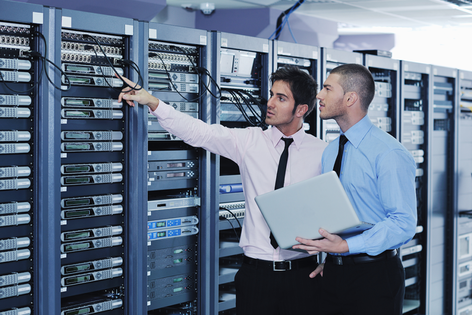 IT consultants helping solve a networking problem